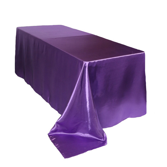 90 x 156 Inch Rectangular Satin Tablecloth Purple