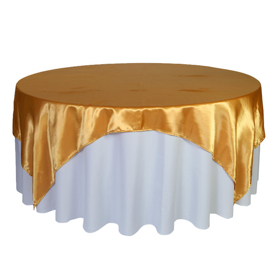 90 inch Square Satin Table Overlays Gold