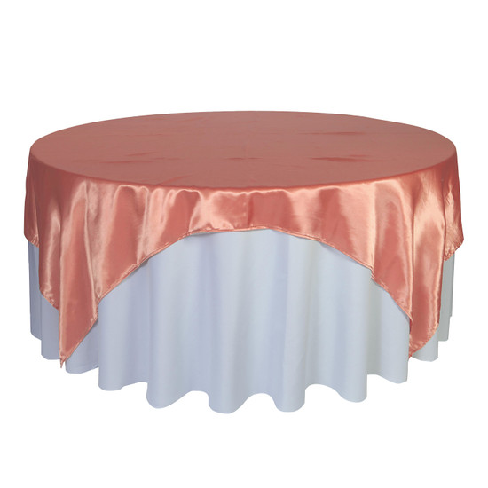 90 inch Square Satin Table Overlays Coral