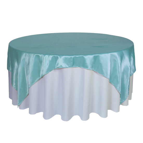 90 inch Square Satin Table Overlays Turquoise
