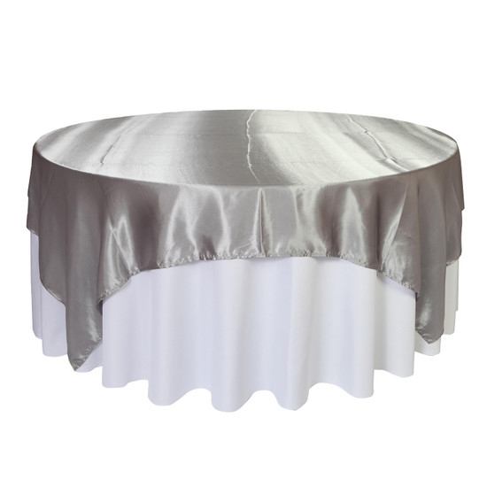 90 inch Square Satin Table Overlays Dark Silver / Platinum