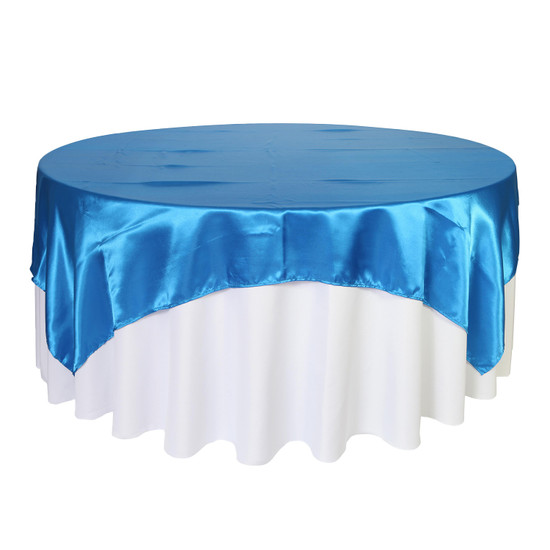 90 inch Square Satin Table Overlays Royal Blue