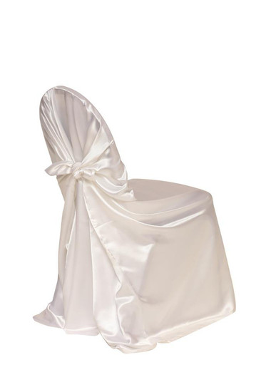Satin Self-Tie Universal Chair Covers White