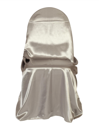 Wholesale Satin Self-Tie Universal Chair Covers Dark Silver / Platinum
