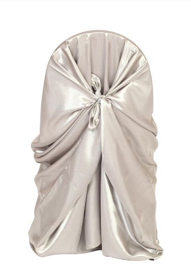 Satin Self-Tie Universal Chair Covers Dark Silver / Platinum For Weddings