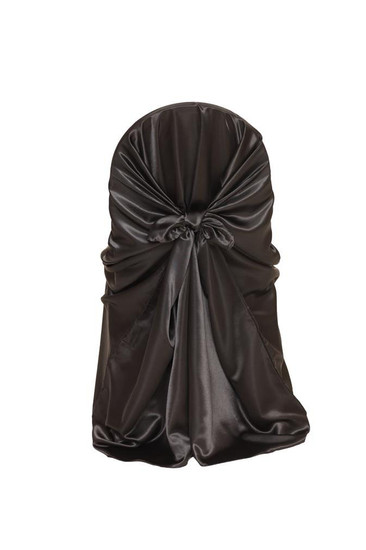 Satin Self-Tie Universal Chair Covers Black For Weddings