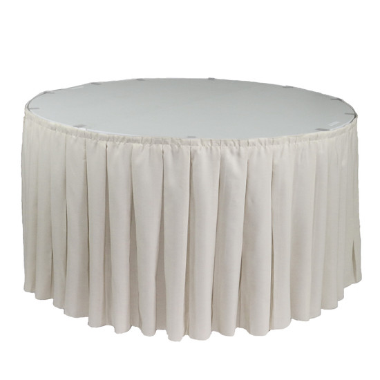 17 ft x 29 inch Polyester Pleated Table Skirt Ivory for round tables