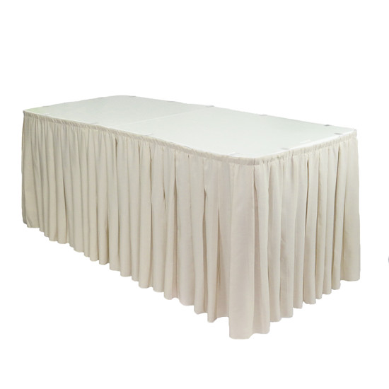 21 ft x 29 inch Polyester Pleated Table Skirts Ivory
