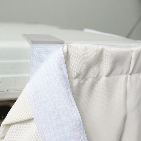 21 ft x 29 Inch Polyester Pleated Table Skirts Ivory velcro