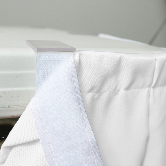 21 ft x 29 inch Polyester Pleated Table Skirts White velcro