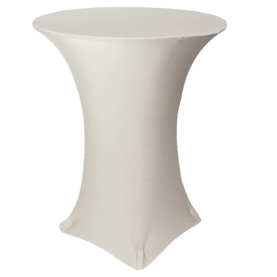 36 inch Highboy Cocktail Round Stretch Spandex Table Covers Ivory