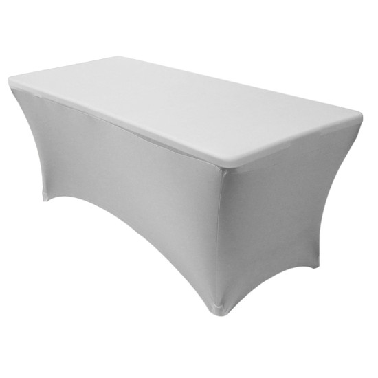 Stretch Spandex 6 Ft Rectangular Table Cover Silver