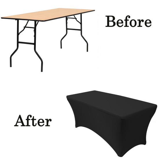 black wood folding table covers