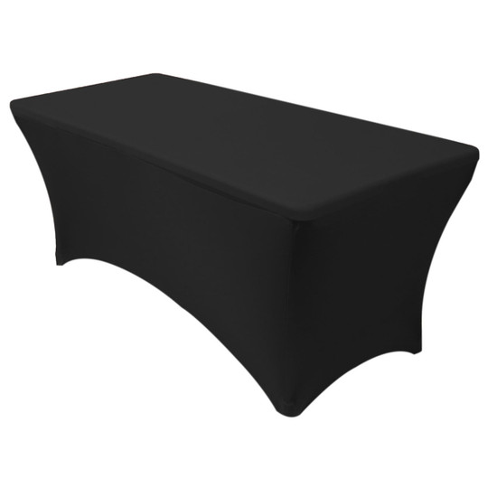 Stretch Spandex 6 ft Rectangular Table Cover Black