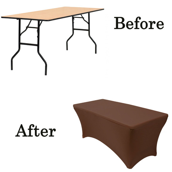 chocolate brown wood folding table covers
