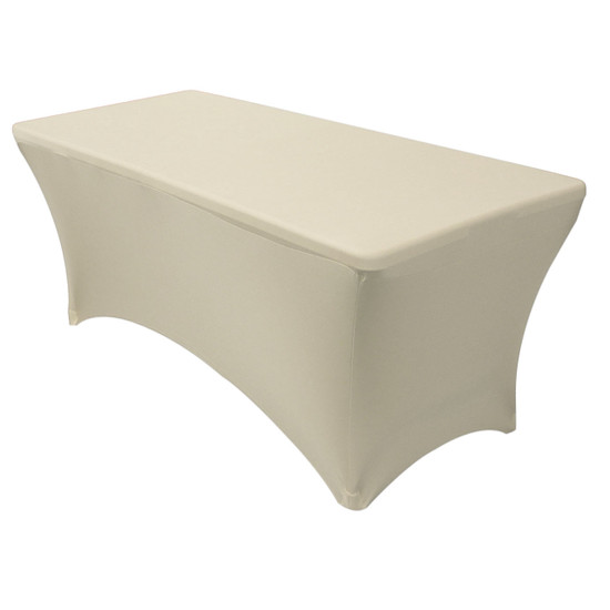 Stretch Spandex 8 ft Rectangular Table Covers Ivory