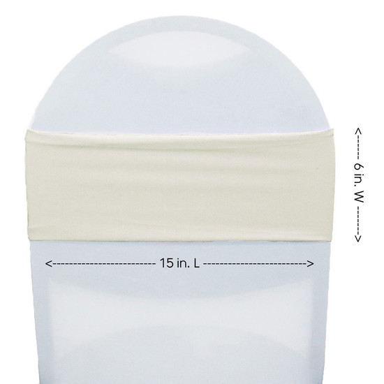 Spandex Chair Bands Ivory measurements