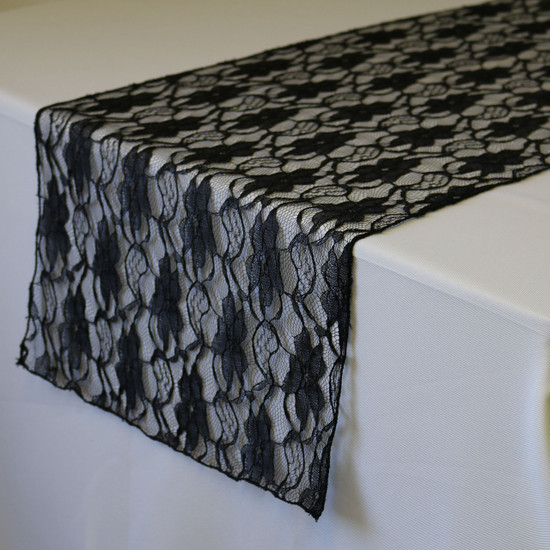 14 x 108 inch Lace Table Runners Black