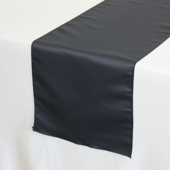14 x 108 inch L'amour Satin Table Runner in Navy Blue on a white tablecloth