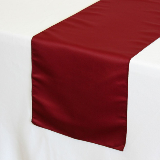 14 x 108 inch Lamour Satin Table Runners in Dark Red on a white tablecloth