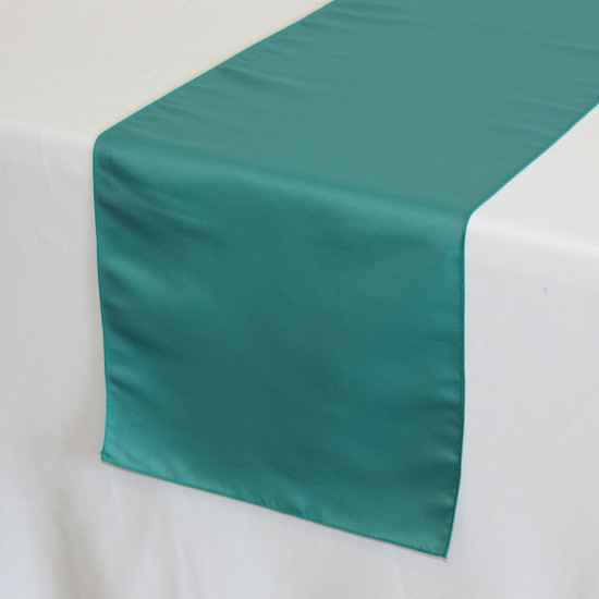 14 x 108 inch L'amour Satin Table Runner in Teal on a white tablecloth