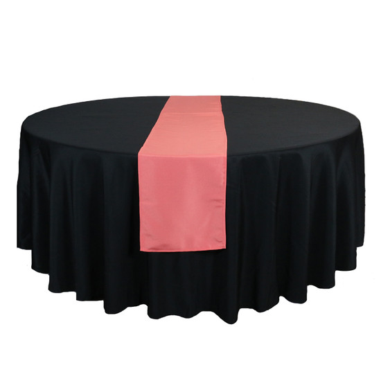 14 x 108 Inch Polyester Table Runner Coral for round tables