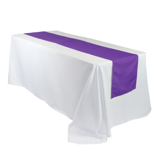 14 x 108 Inch Polyester Table Runner Purple on rectangular table