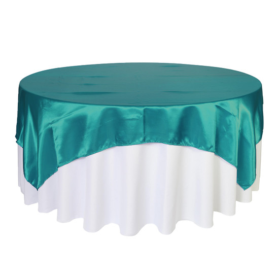 90 inch Square Satin Table Overlays Teal