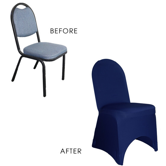 Stretch Spandex Banquet Chair Cover Navy Blue