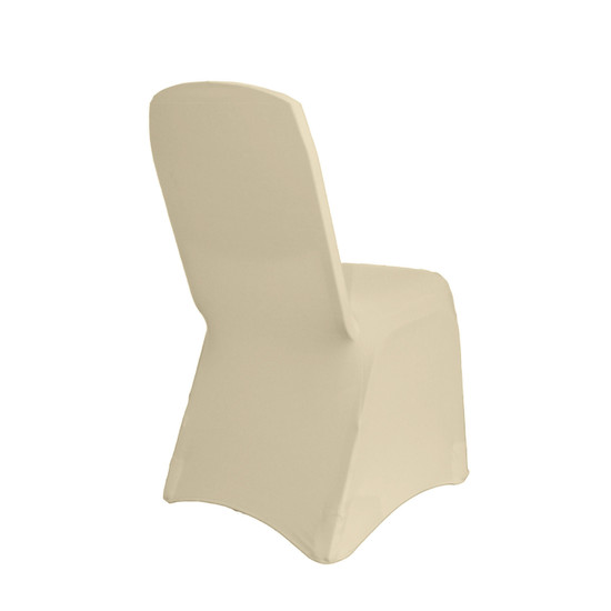 Square Top Stretch Spandex Banquet Chair Cover Ivory