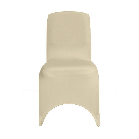 Square Top Spandex Chair Covers Ivory For Weddings
