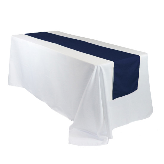 14 x 108 Inch Polyester Table Runner Navy Blue on rectangular tables