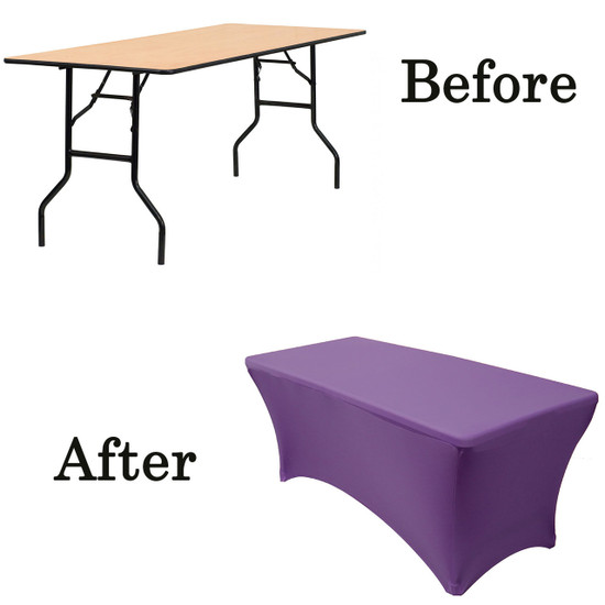 purple wood folding table covers