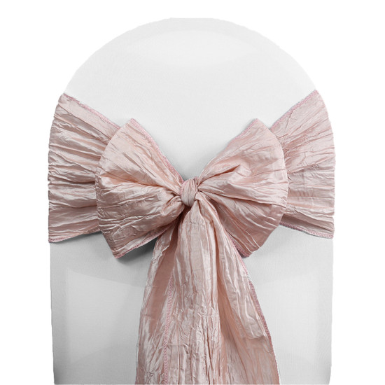 10 Pack Crinkle Taffeta Chair Sashes Blush