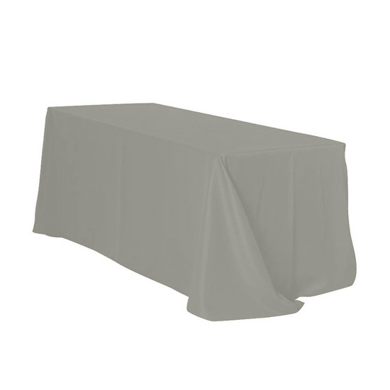 90 x 132 Inch Rectangular Polyester Tablecloth Gray