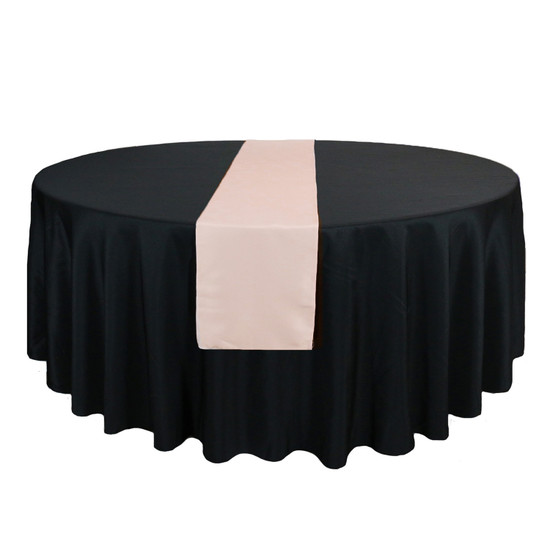 14 x 108 inch Polyester Table Runners Blush on round table