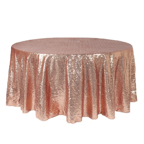 132 inch Round Glitz Sequin Tablecloth Blush