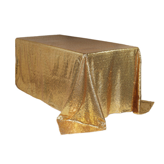 90 x 132 inch Rectangular Glitz Sequin Tablecloth Gold