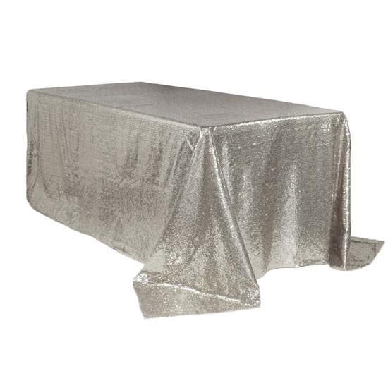 90 x 156 inch Rectangular Glitz Sequin Tablecloths Silver Main