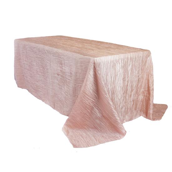 90 x 132 Inch Rectangular Crinkle Taffeta Tablecloth Blush