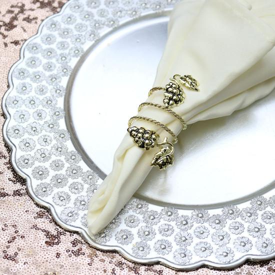 Grape Swirl Napkin Rings in Gold