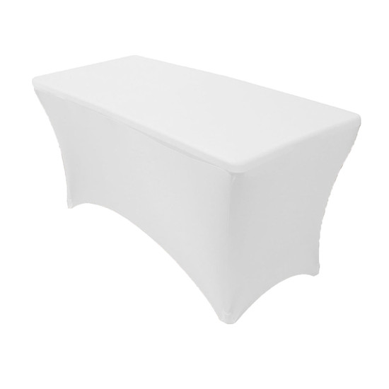 Spandex 4 Ft Rectangular Table Covers White