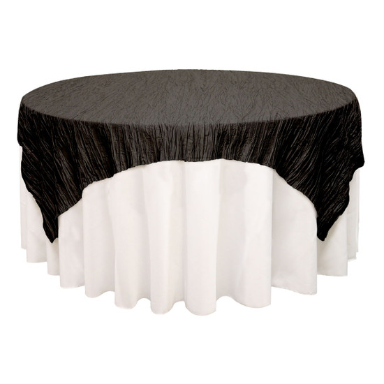 72 inch Square Crinkle Taffeta Table Overlays Black