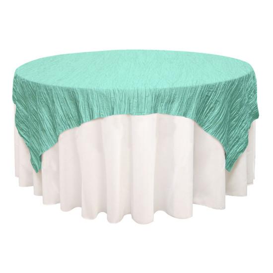 72 inch Square Crinkle Taffeta Table Overlays Tiffany