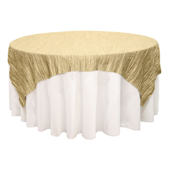 90 inch Square Crinkle Taffeta Table Overlays Champagne