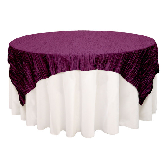 90 inch Square Crinkle Taffeta Table Overlays Eggplant