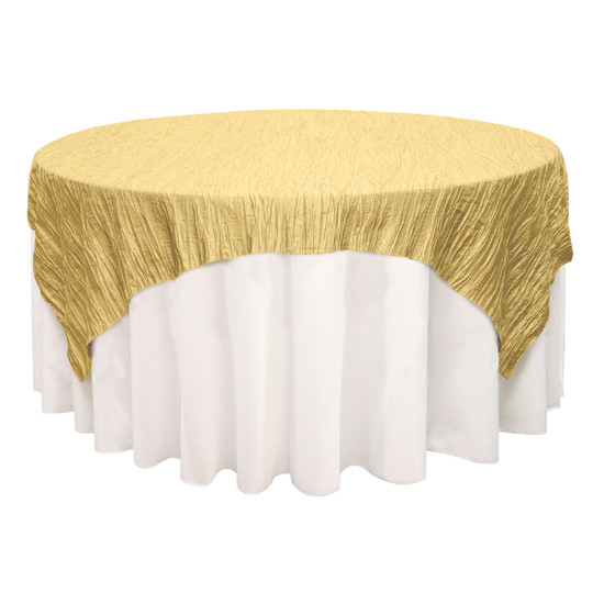 90 inch Square Crinkle Taffeta Table Overlays Gold