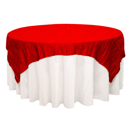 72 inch Square Crinkle Taffeta Table Overlays Red
