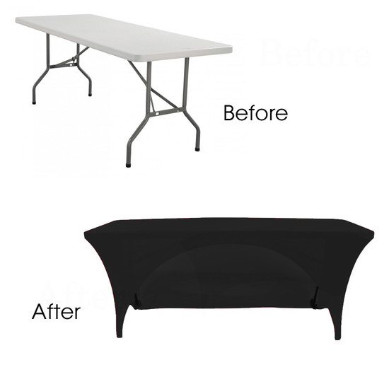 black open back spandex table covers