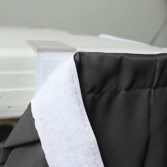 17 ft x 29 Inch Polyester Pleated Table Skirt Black velcro